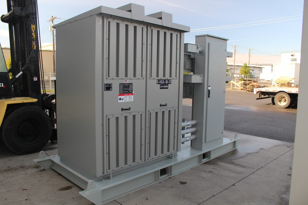 Three Atlas Electric 750 KVA Portable Substations