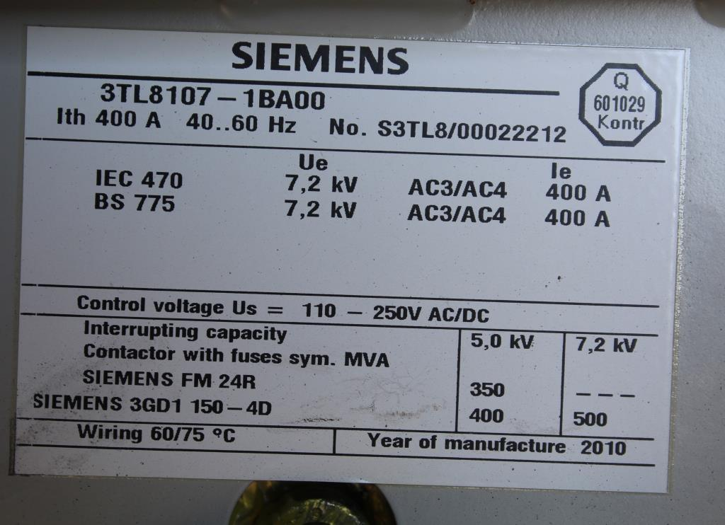 Siemens Medium Voltage Motor Control Center 1200 Amp 5 KV